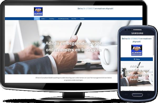 Almere Consultant's website op desktopscherm en op mobiel