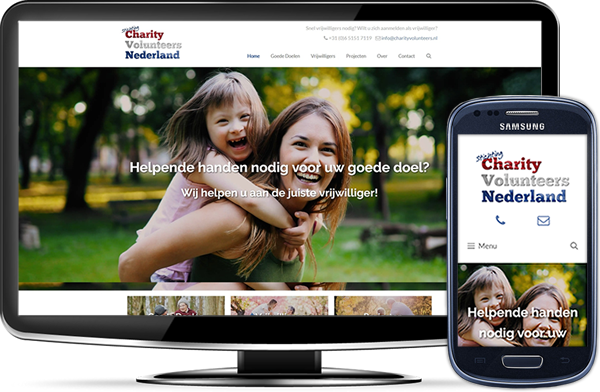 Charity Volunteers Nederland's website op desktopscherm en op mobiel