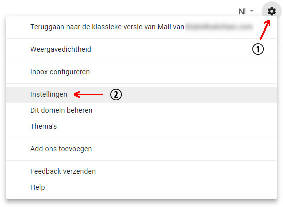 Instellingen pop-up in Gmail