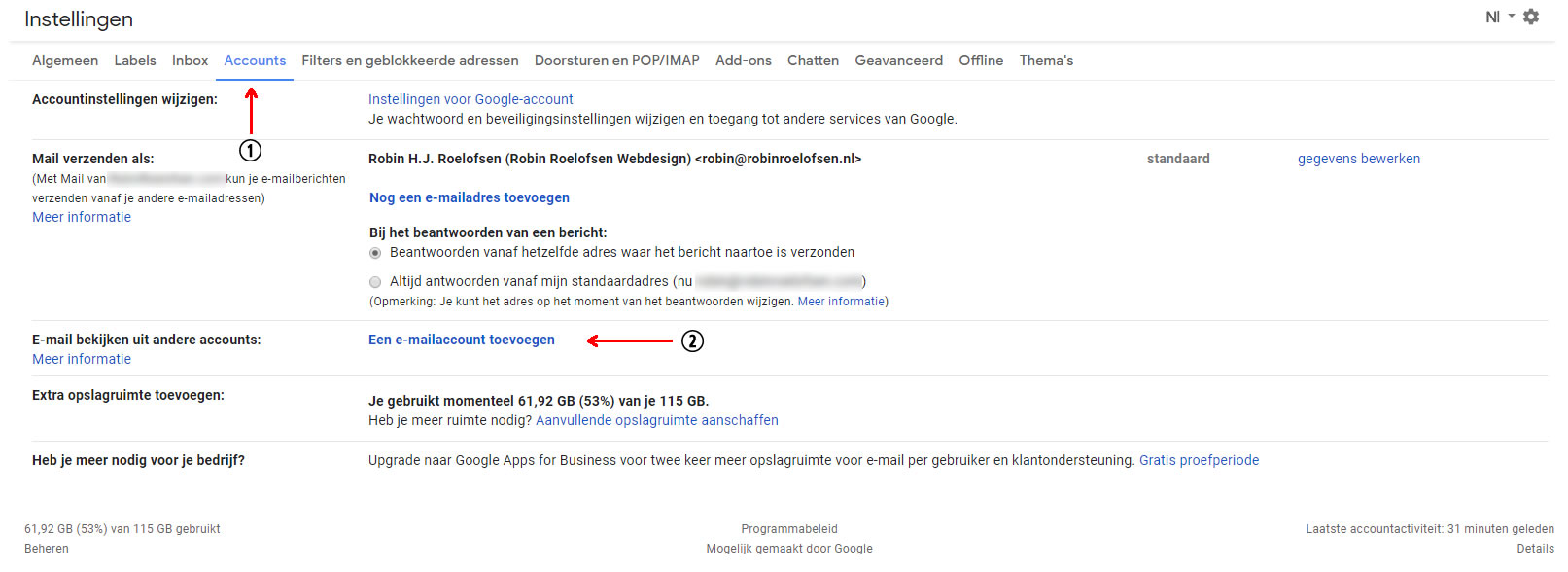 Accounts tab bij Instellingen in Gmail