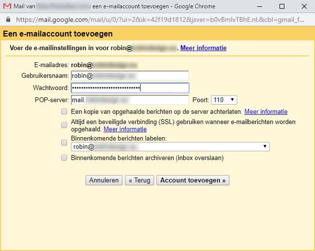 Scherm Een e-mailaccount toevoegen: e-mailinstellingen