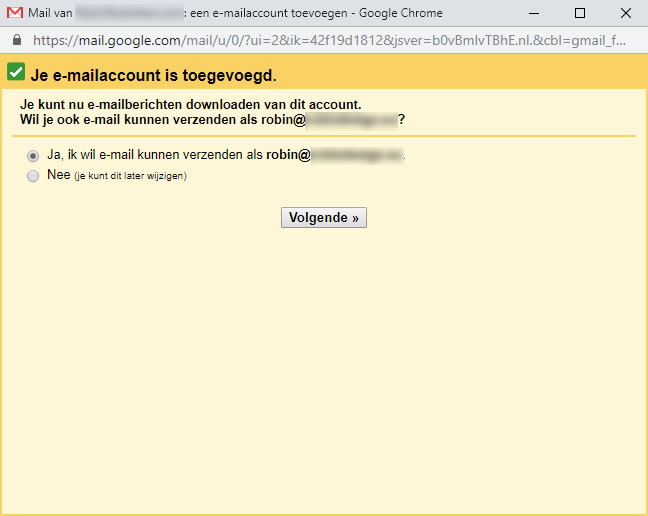 Je e-mailaccount is toegevoegd scherm in Gmail