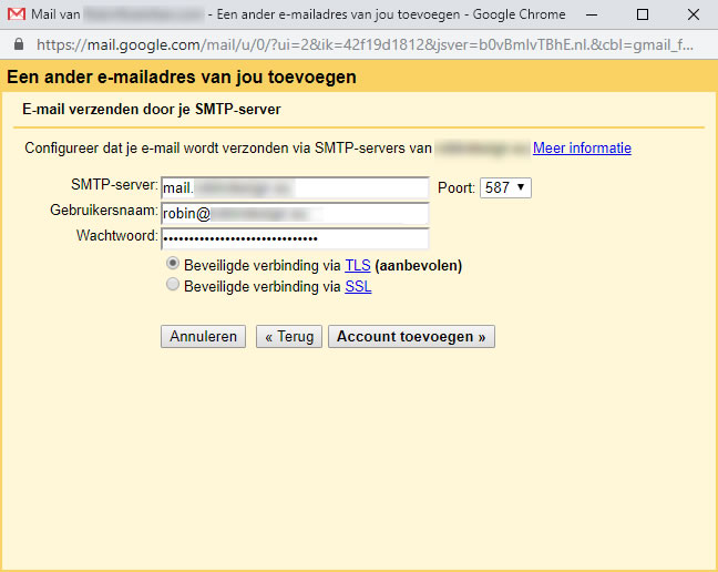 Een ander e-mailadres van jou toevoegen scherm: SMTP instellingen
