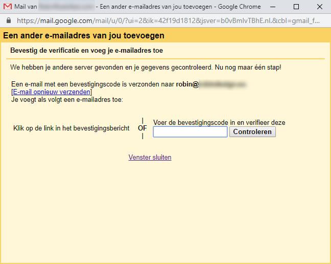 Een ander e-mailadres van jou toevoegen scherm: verificatie