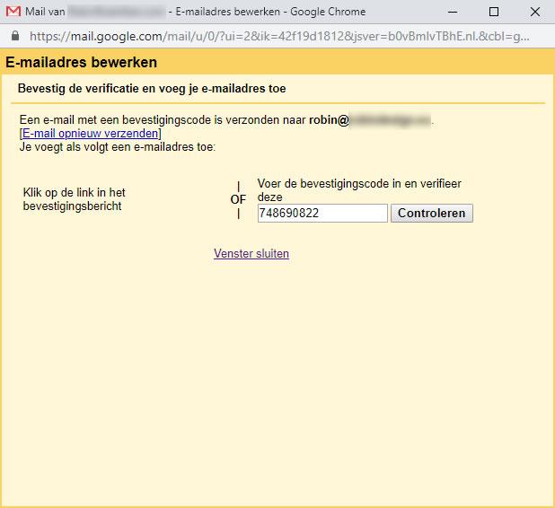 Een ander e-mailadres van jou toevoegen scherm: bevestigingscode
