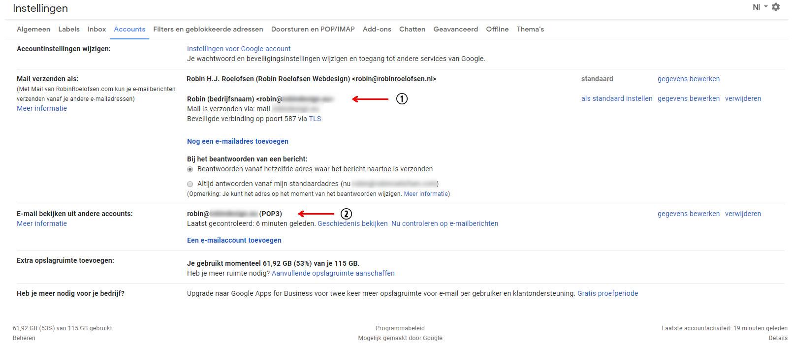 Accounts tab bij Instellingen in Gmail met nieuw e-mailaccount
