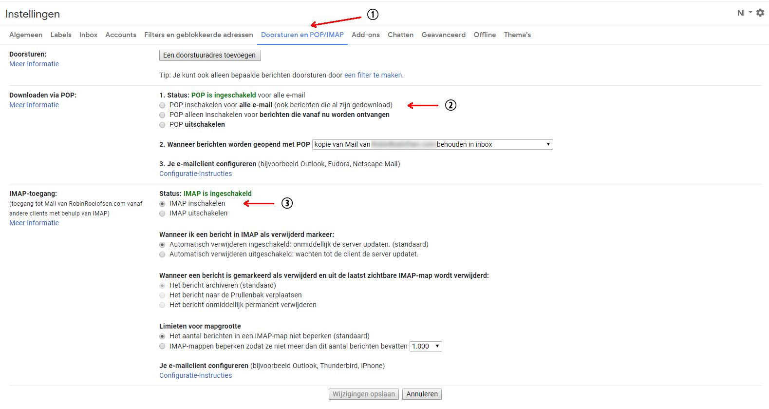 Tab Doorsturen en POP/IMAP bij Instellingen in Gmail