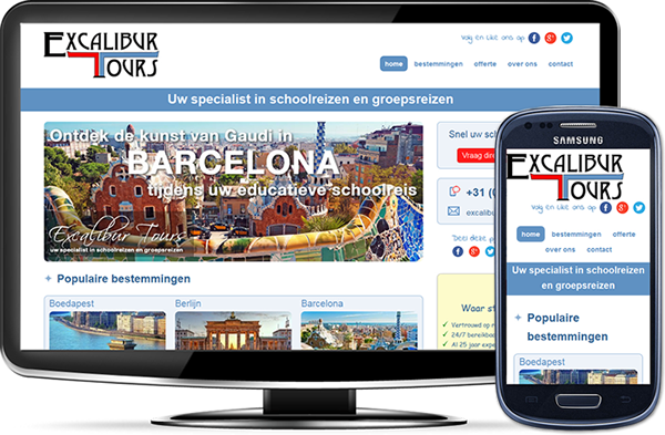 Excalibur Tours' website op desktopscherm en op mobiel