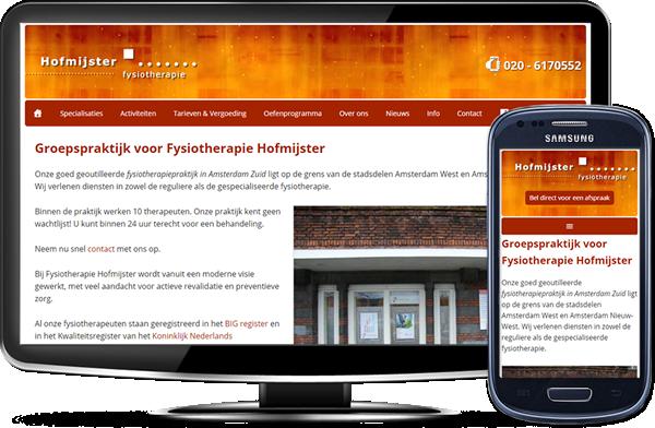 Fysiotherapie Hofmijster's website op desktopscherm en op mobiel
