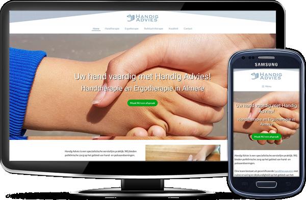 Handig Advies' website op desktopscherm en op mobiel