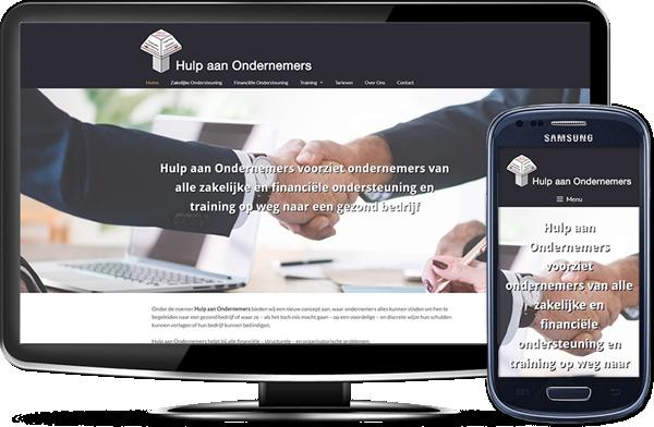 Hulp aan Ondernemers' website op desktopscherm en op mobiel
