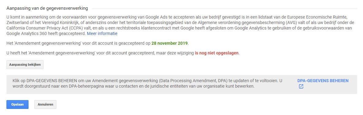 Nog niet geaccepteerd Amendement gegevensverwerking bij Aanpassing van de gegevensverwerking in Google Analytics