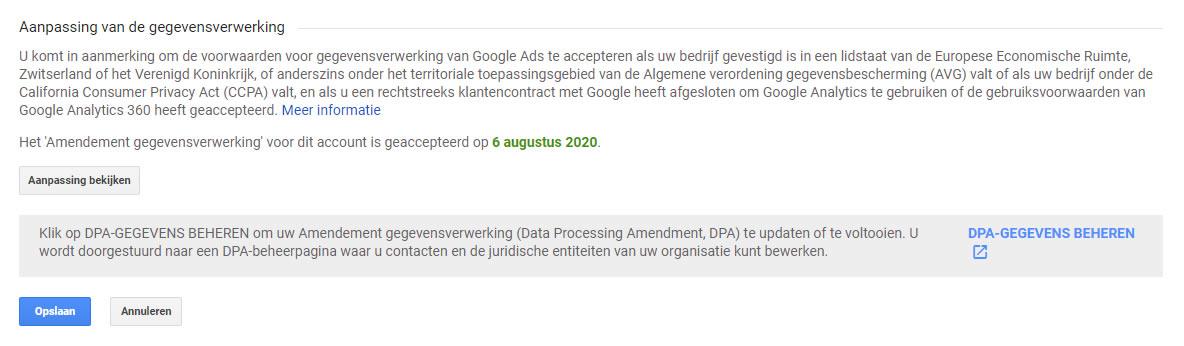 Volledig geaccepteerde Aanpassing van de gegevensverwerking in Google Analytics