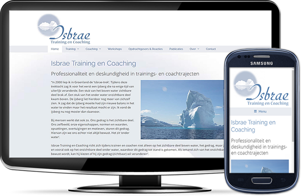 Isbrae Training en Coaching's website op desktopscherm en op mobiel