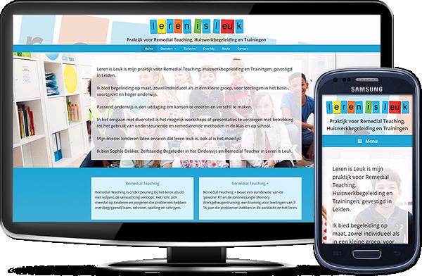 Leren is Leuk's website op desktopscherm en op mobiel