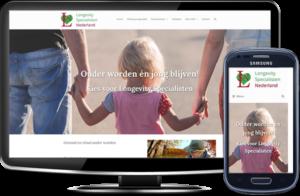 Longevity Specialisten Nederland's website op desktopscherm en op mobiel