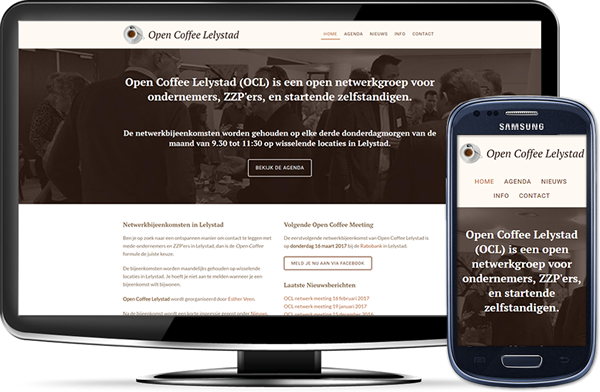 Open Coffee Lelystad's website op desktopscherm en op mobiel