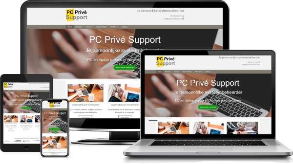 PC Privé Support website op desktop, laptop, tablet,en mobiel