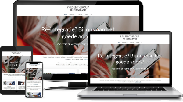 Present Group Re-integratie website op desktop, laptop, tablet,en mobiel