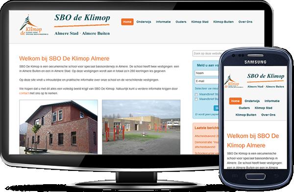 SBO De Klimop's website op desktopscherm en op mobiel