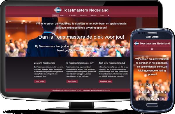 Toastmasters Nederland's website op desktopscherm en op mobiel