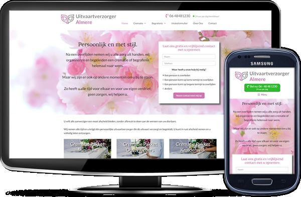 Uitvaartverzorger Almere' website op desktopscherm en op mobiel