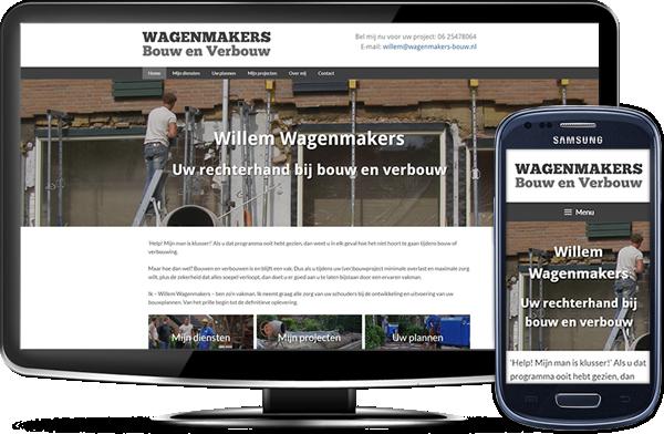 Wagenmakers Bouw en Verbouw's website op desktopscherm en op mobiel
